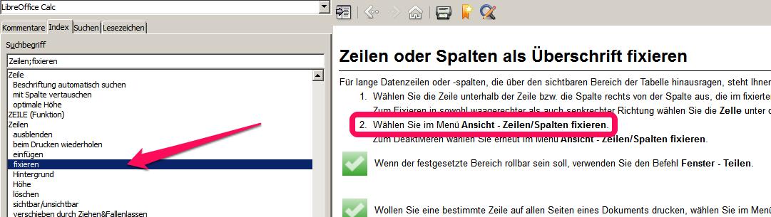 Zeilen oder Spalten fixieren - LibreOffice-Forum de